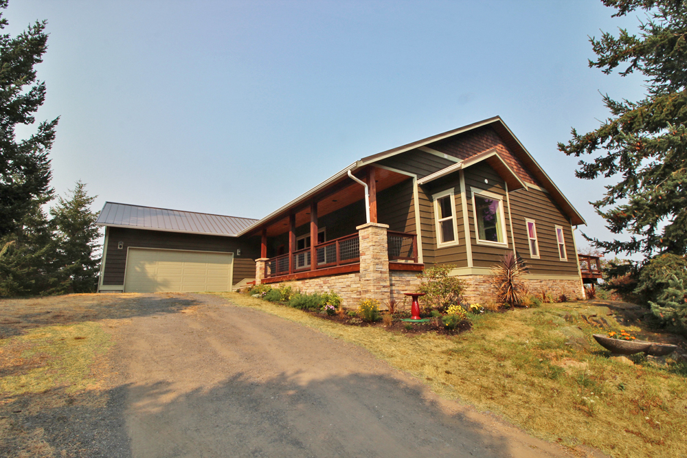 Exterior of custom craftsman home built in San Juan Island, WA.