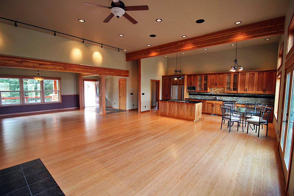 The dining room built in San Juan Island featured wood detailing.