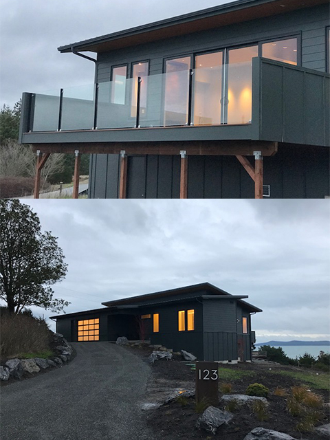 Two photos of the custom clearstory home in Friday Harbor. First photo is a deck view with glass railing. Bottom view is the exterior of the house.