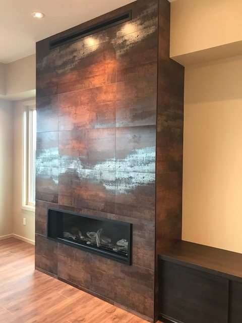 View of the Friday Harbor custom clearstory home fireplace