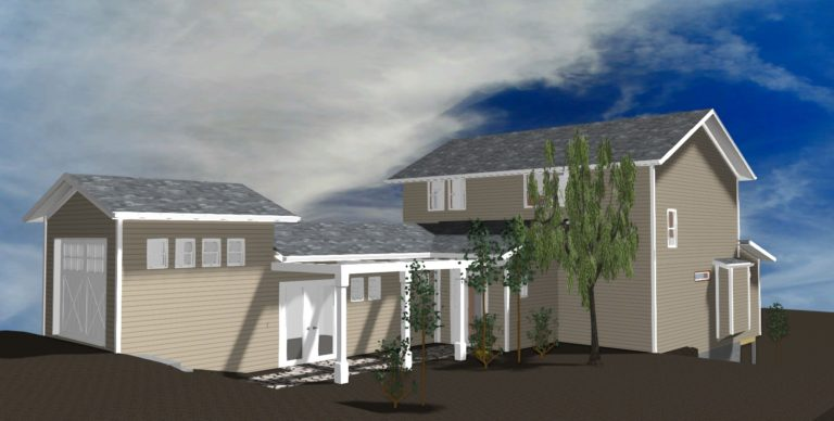 Outside view of a 3D elevation for a home in Orcas.