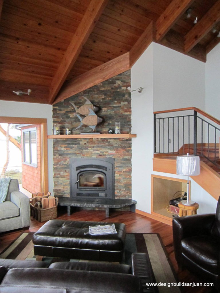 Depiction of fireplace featured in the waterfront home renovation project.