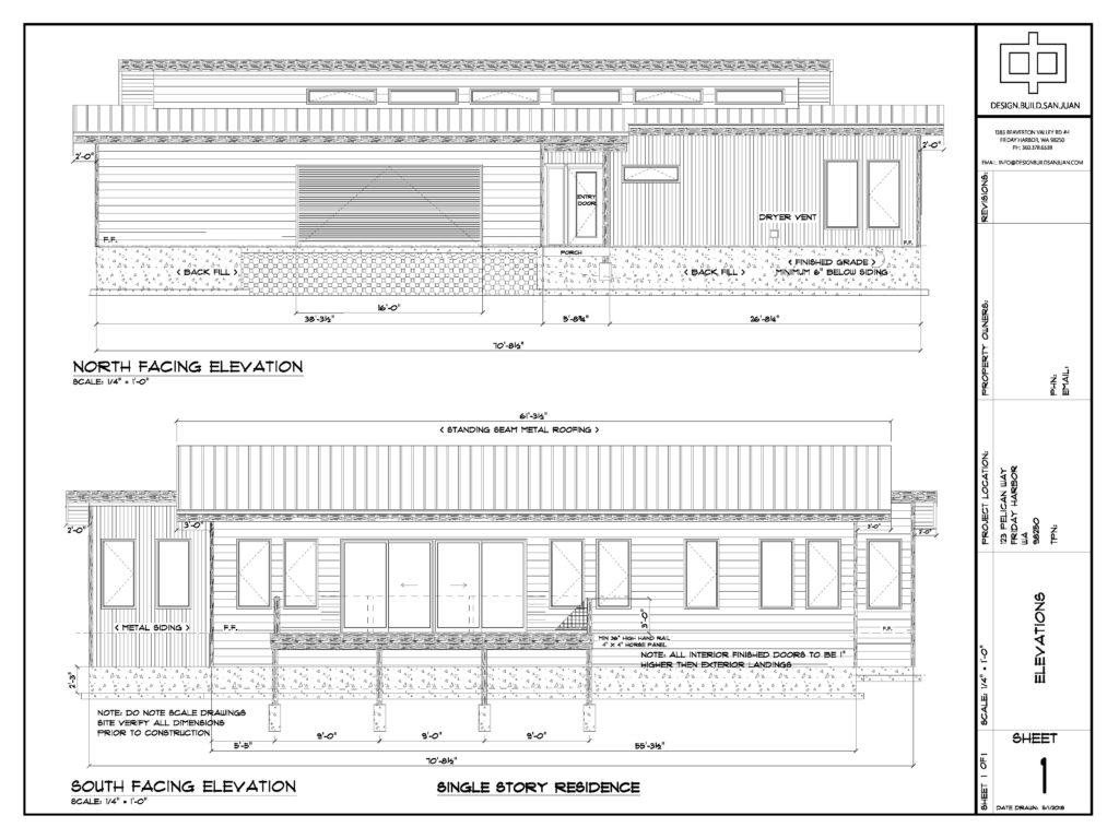 2D Drafted Elevation plans from Design Build San Juan