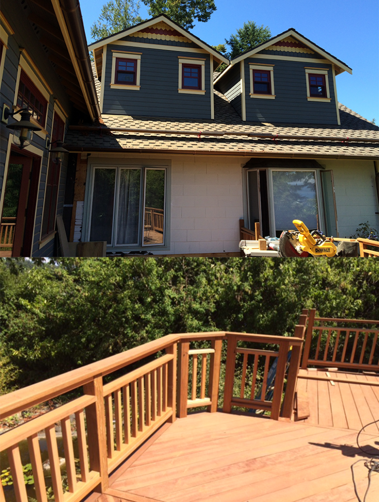 Two images, one showing the outside of a home renovated in Friday Harbor, WA. The other photo shows a brand new deck that was installed at the home.